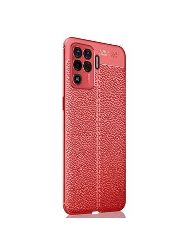 Microsonic Oppo Reno 5 Lite Kılıf Deri Dokulu Silikon Kırmızı Kırmızı